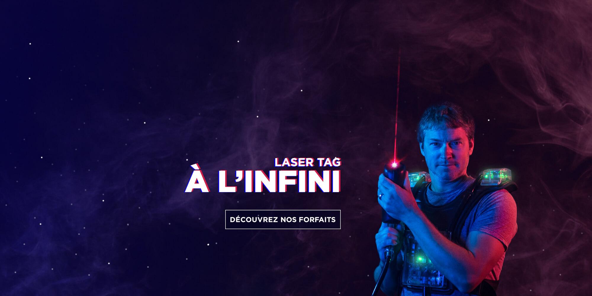 Homme avec équipement de Laser tag   Laser Tag à l'infini