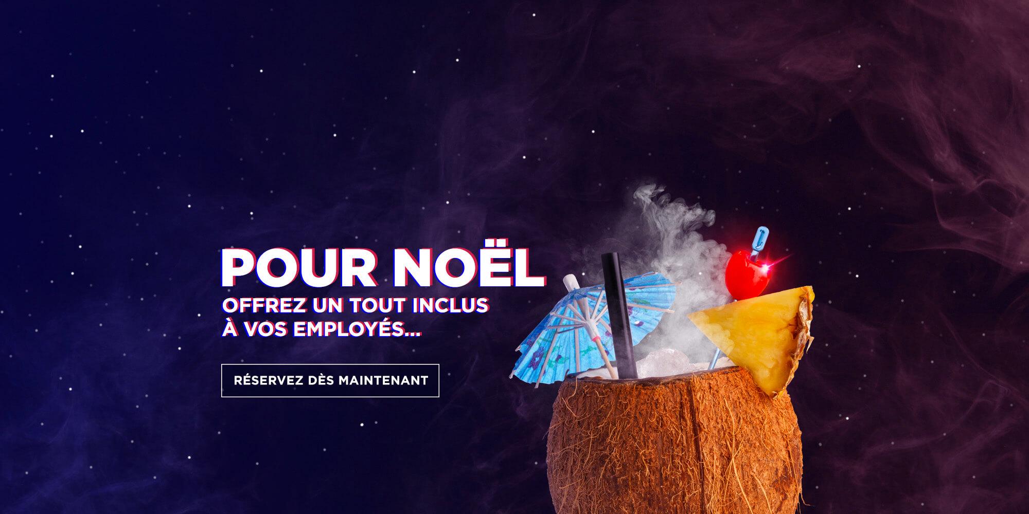 Cocktail dans une noix de coco | Promotion pour Noël de BoulZeye | Offrez un tout inclus à vos employés