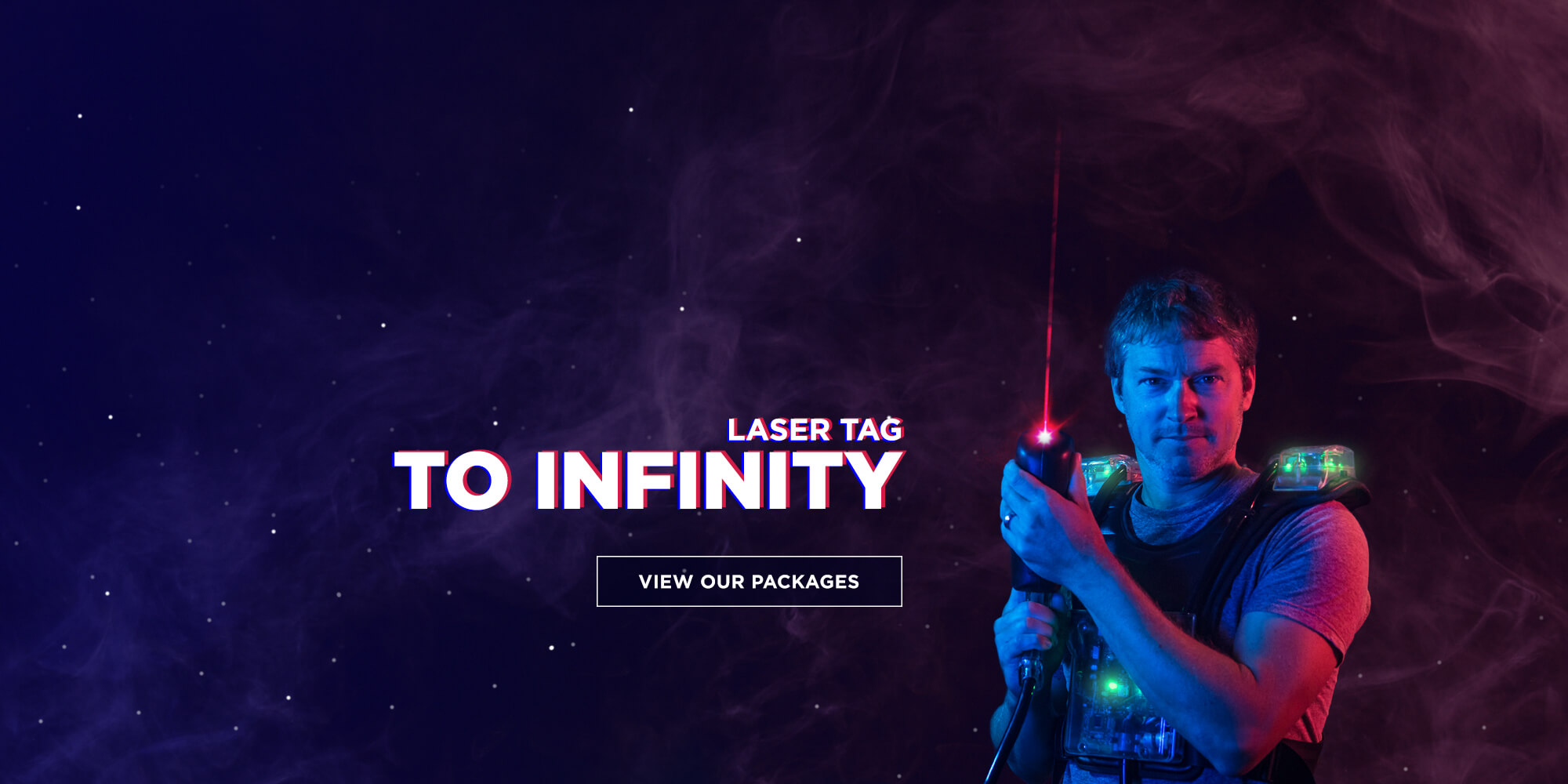 Man with a laser tag equipment